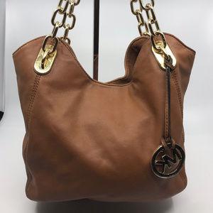 Michael Kors Brown Leather Chain Shoulder Bag